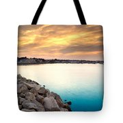 Sunset At Plymouth Harbor Tote Bag