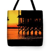 Sunset At Raft With Bird Tote Bag