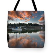 Sunset At Sellwood Riverfront Park Tote Bag