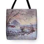 Sunset At Snow-covered Niawanda Park Tote Bag
