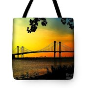 Sunset At The Delaware Memorial Bridge Tote Bag