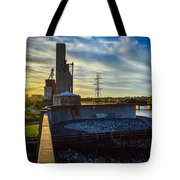 Sunset At The Flood Wall Tote Bag
