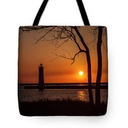 Sunset At The Lighthouse In Muskegon Michigan Tote Bag