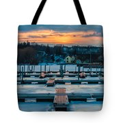 Sunset At The Marina In Winter Tote Bag