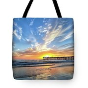 Sunset At The Pismo Beach Pier Tote Bag