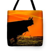 Sunset At The Ss Atlantus Concrete Ship Tote Bag