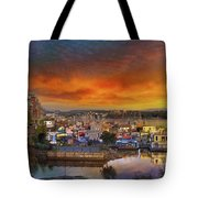 Sunset At Victoria Inner Harbor Fisherman's Wharf Tote Bag
