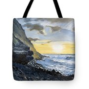Sunset At Warren Point Duckpool Tote Bag