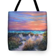 Sunset Beach Painting With Walking Path And Sand Dunesand Blue Waves Tote Bag