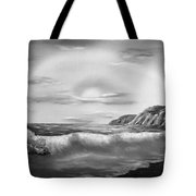 Sunset Beach Pastel Splash In Black And White Tote Bag