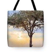 Sunset Behind Acacia Tree Digital Watercolor Tote Bag