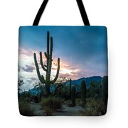 Sunset Beyond The Cacti Tote Bag