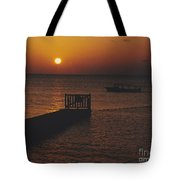 Sunset Boat Tote Bag