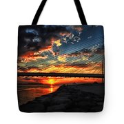 Sunset Bridge At Indian River Inlet Tote Bag