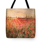 Sunset By The Poppy Fields Tote Bag