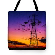 Sunset By The Wires Tote Bag
