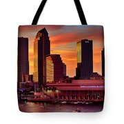Sunset City Downtown By The River Tote Bag