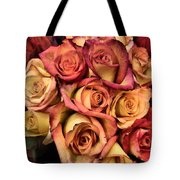 Sunset Colored Roses Tote Bag