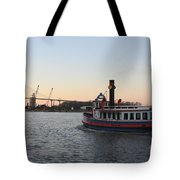 Sunset Ferry In Savannah Tote Bag