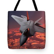 Sunset Fire F22 Fighter Jet Tote Bag
