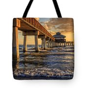Sunset Fort Myers Beach Fishing Pier Tote Bag