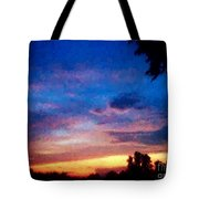 Sunset In A Deep Blue Sky Line Tote Bag
