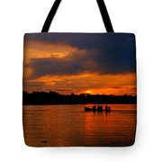 Sunset In Amazon River Tote Bag