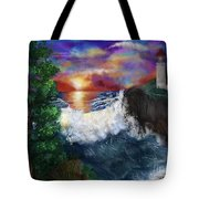 Sunset In The Cove Tote Bag