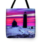 Sunset In Winter At Grand Haven Lighthouse Tote Bag