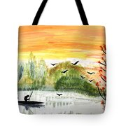 Sunset On A Lake Tote Bag