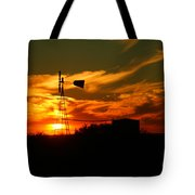 Sunset On A Windmill Jal New Mexico Tote Bag