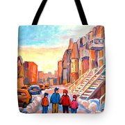 Sunset On Hotel De Ville Street Montreal Tote Bag