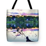 Sunset On Kenoza Lake Haverhill Ma Reflection Tote Bag