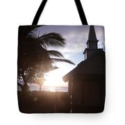 Sunset On Kona Church  Tote Bag