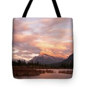 Sunset On Mount Rundle Tote Bag
