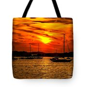 Sunset On Muskegon Lake Tote Bag
