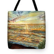 Sunset On The Great Sea. Tote Bag