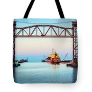 Sunset On The Port Of Chicago Waterfront Tote Bag