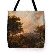 Sunset On The Rhine , Barend Cornelis Koekkoek Tote Bag