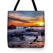 Sunset On The Rocks Tote Bag by Jason Roberts