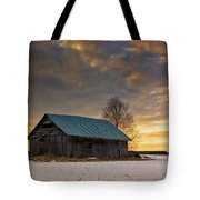 Sunset On The Snowy Fields Tote Bag