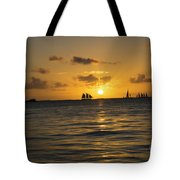 Sunset On Two Masts  Tote Bag