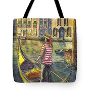 Sunset On Venice - The Gondolier Tote Bag