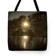 Sunset Over A Lake Tote Bag