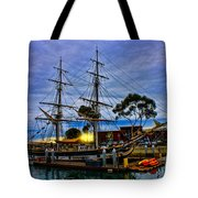 Sunset Over A Tall Ship Tote Bag