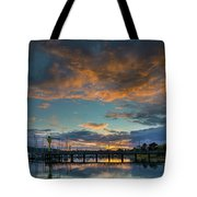 Sunset Over Boat Ramp At Anacortes Marina Tote Bag