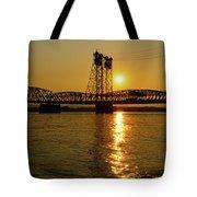 Sunset Over Columbia Crossing I-5 Bridge Tote Bag
