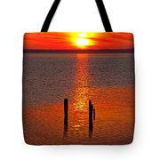 Sunset Over Currituck Sound Tote Bag