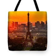 Sunset Over Eiffel Tower Tote Bag