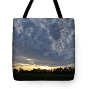 Sunset Over Farm And Trees - Distant View Tote Bag